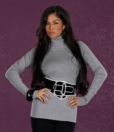 Rollkragen-Pullover grau