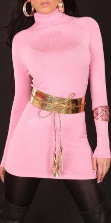 Longpulli mit Gürtel in rosa