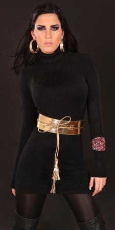Longpulli mit Gürtel in schwarz