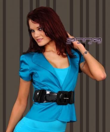 Blazer mit kurzen Puff-Ärmeln in blau