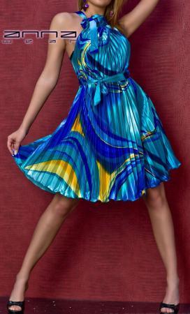 Plissee-Kleid blau