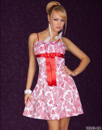 Minikleid mit Blumen-Muster weiß/rot