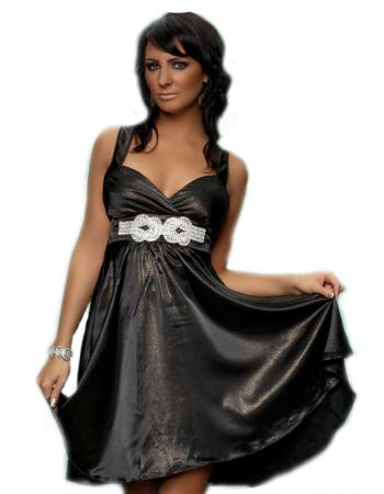 Satin-Kleid mit feinen Lurex