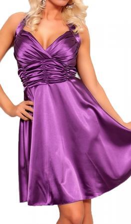 Satin Kleid in A-Linie flieder