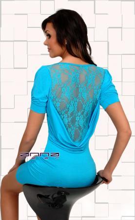 Minikleid mit Wasserfall-Ausschnitten hellblau