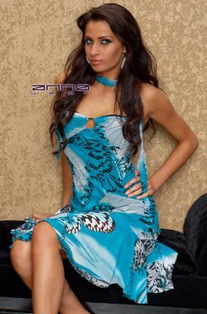 Chiffon-Kleid schwarz/blau