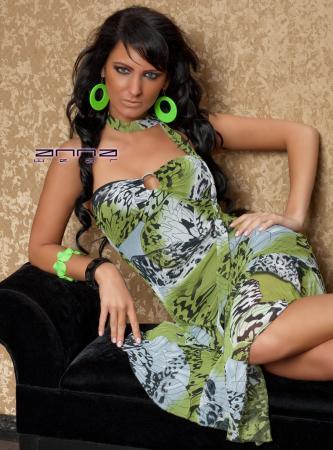 Chiffon-Kleid schwarz/grün