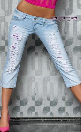 Capri-Jeans blau/lila
