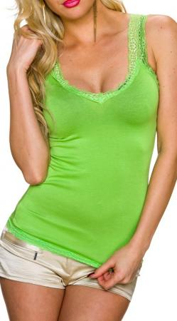 Top mit Spitze grün