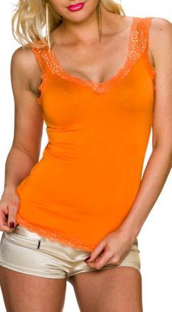 Top mit Spitze orange