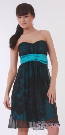 Knielanges Kleid in schwarz/türkis