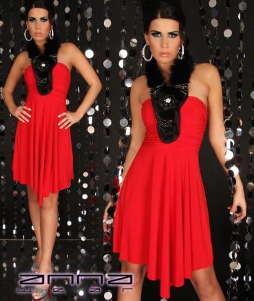 Minikleid mit Pluschschal in rot