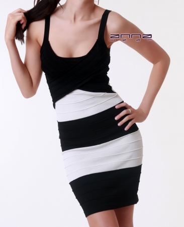 Biesen-Minikleid in schwarz/weiß
