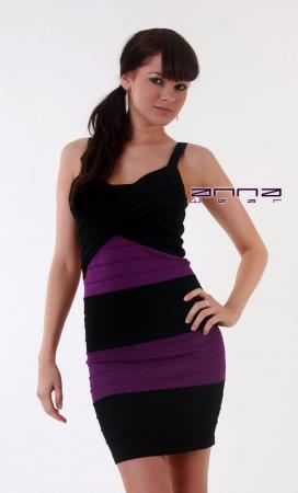 Biesen-Minikleid in schwarz/lila