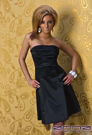 Festliches Satin-Kleid in schwarz