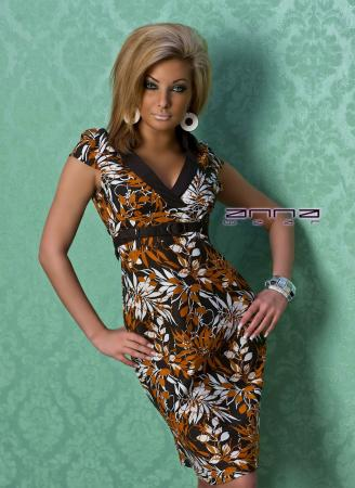 Sommer Leinen-Kleid orange/braun