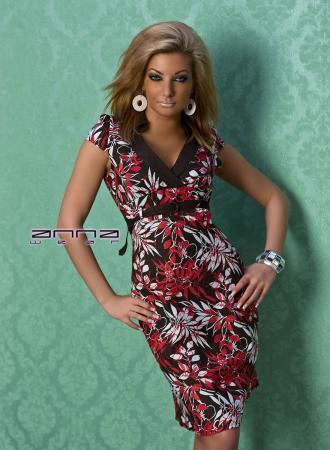 Sommer Leinen-Kleid rot/schwarz