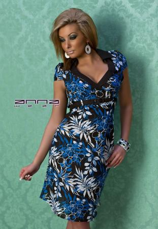 Sommer Leinen-Kleid blau/schwarz
