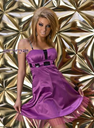 Bandeau-Satin-Kleid in lila