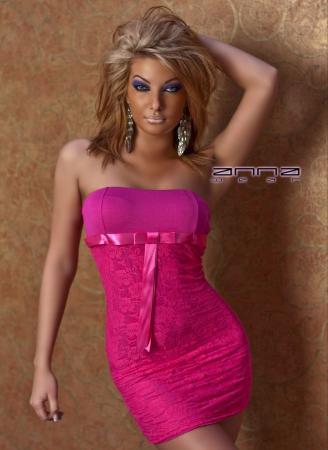 Bandeau-Spitzenminikleid pink