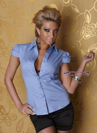Stretch-Bluse hellblau