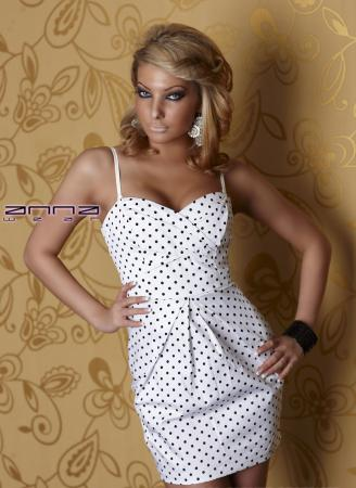 Minikleid in weiß/schwarz