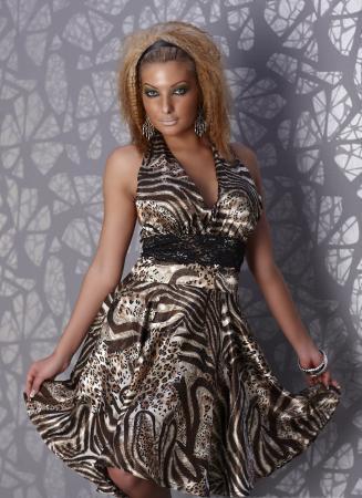 Satin Kleid in leopard