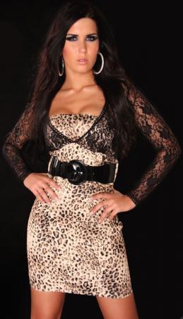 Spitzen Mini-Kleid mit Gürtel in leo/schwarz