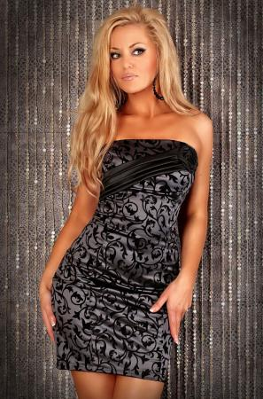 Kleid Elegance grau/schwarz