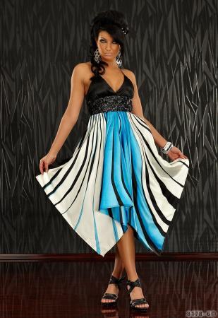 Kleid mit grafischen Streifen-Muster blau