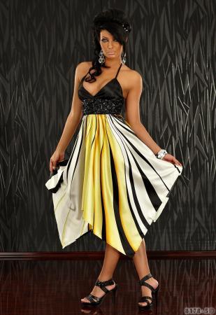 Kleid mit grafischen Streifen-Muster gelb
