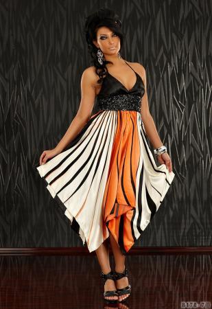 Kleid mit grafischen Streifen-Muster orange