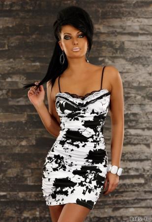 Stretch-Minikleid schwarz/weiß
