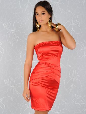 Edles Satin-Kleid in rot