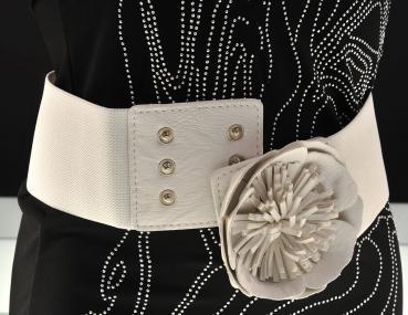 Elastischer Gürtel mit Blume in weiß