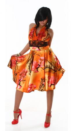 Knielanges Neck-Kleid orange