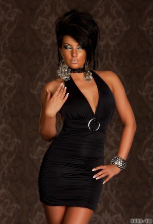 Neck-Minikleid in schwarz