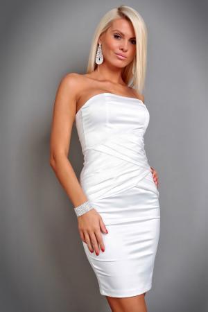 Elegantes Satin Kleid in weiß
