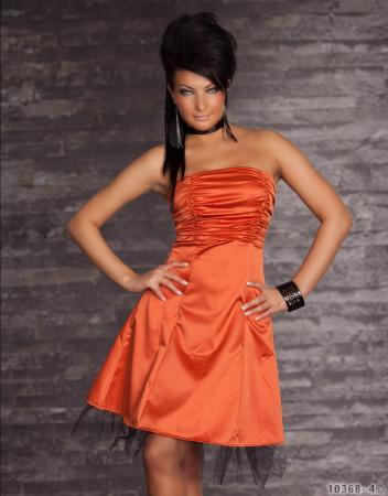 Bandeau-Minikleid aus Satin orange
