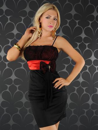Abendkleid schwarz/rot
