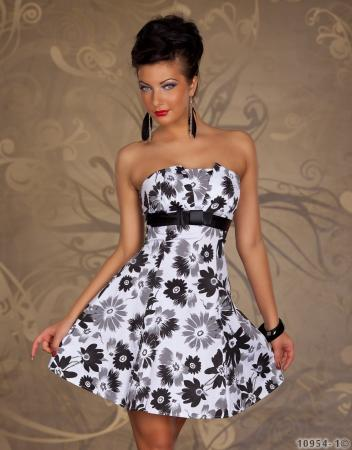 Bandeau-Minikleid weiß/schwarz