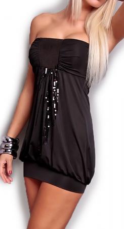 Stretch-Minikleid mit Pailletten in schwarz