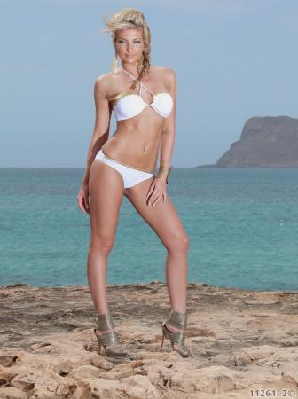 Bandeau-Bikini mit Flecht-Bändchen in weiß