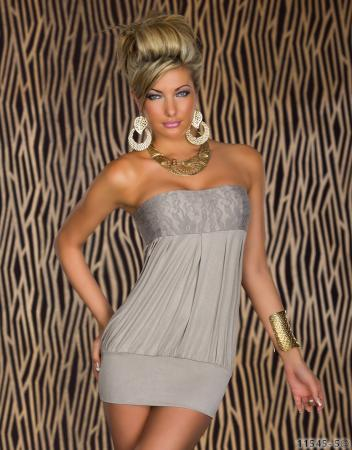 Bandeau-Minikleid in grau