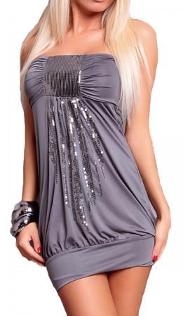 Stretch-Minikleid mit Pailletten in grau