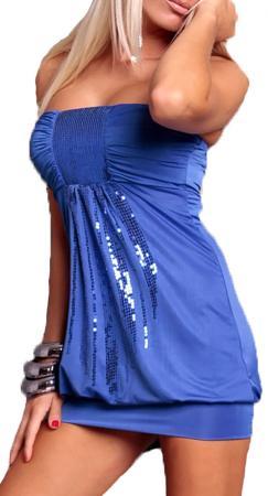 Stretch-Minikleid mit Pailletten in blau