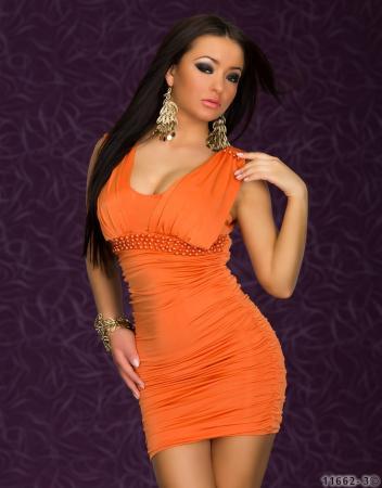Stretch-Minikleid mit Perlen verziert in orange