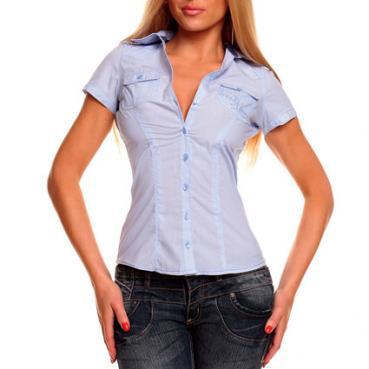 Hemd weiß/blau