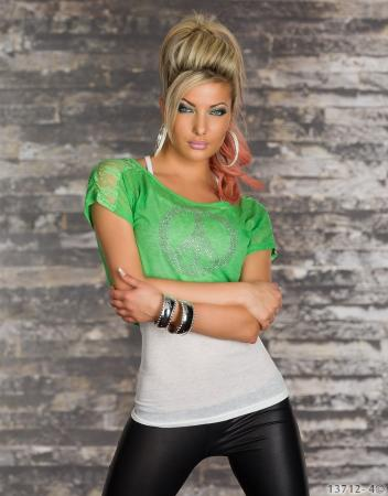2 teilig Top + Shirt weiß/grün