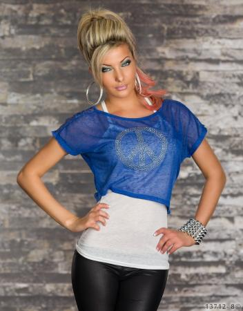 2 teilig Top + Shirt weiß/royalblau